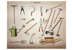 """Charming antique chromolithograph titled Garden Tools, from a series depicting country and city life (Germany, 1885). Crease in center, as issued. Displayed in an acid-free, standard-sized mat. Image size 12""""H x 15.5""""W."""