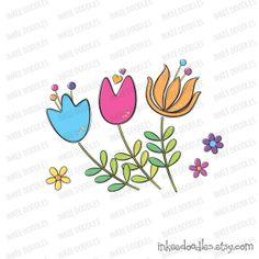 Spring Flowers Cute Floral Clipart Embroidery School Teacher Clip Art Scrapbooking Supplies by Inkee Doodles, $4.50 #Spring #Flowers #Cute#Floral #Clipart #Embroidery #School #Teacher #Clip #Art #Scrapbooking #Supplies
