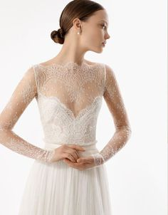 Vintage Lace Romantic Wedding Dress Bridal Gown Long Lace sleeves slim A LINE Dress. $238.00, via Etsy.