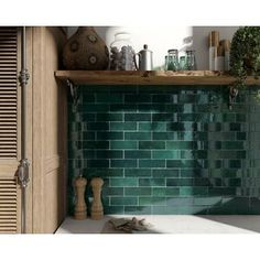 Retro tiles Artisan by Equipe Cerámicas in trendy design and in absolute top quality can be found at Keramics. Ceramic Mosaic Tile, Ceramic Subway Tile, Glass Subway Tile, Porcelain Tiles, Glazed Ceramic, Green Subway Tile, Green Tiles, Green Kitchen Tile Ideas, Green Bathroom Tiles