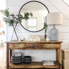 Foyer Console Table Decor Shiplap Accent Wall Shiplap walls and a distressed con Entryway Decor Ideas Accent con Console decor Distressed foyer Shiplap Table Wall Walls Flur Design, Home Design, Interior Design, Design Ideas, Ship Lap Walls, Entryway Decor, Front Entry Decor, Entrance Table Decor, Entryway Bench Modern
