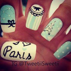 Paris nails, would change it up but I love Paris Nail Art, Paris Nails, Get Nails, Love Nails, How To Do Nails, Fabulous Nails, Gorgeous Nails, Pretty Nails, Un Cake