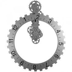 Zegar ścienny INVOTIS Koło Zębate Big Hour Wheel Clock, srebrny, 55 cm - | Sklep EMPIK.COM