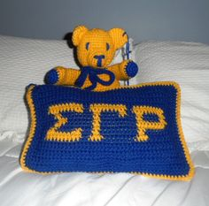 Pillow talk collection  Sigma Gamma Rho pillow with colorful bear Can do other sororities as well.  https://www.etsy.com/listing/63282369/sigma-gamma-rho-bear-made-to-order?ref=shop_home_active