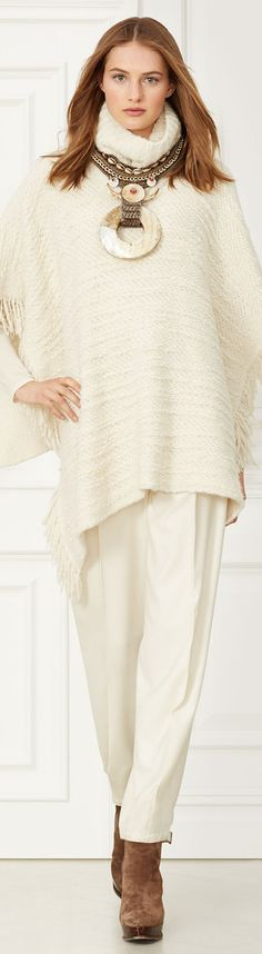 CREAMS & BLUSH via LOLO Ralph Lauren BOUCLÉ TURTLENECK PONCHO repined by BellaDonna