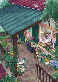 Rainy Breakfast Morning Print Large (A3) Mochipanko Art Store