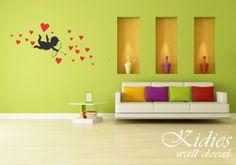 "Cupid, vinyl wall decal. Wall sticker. 59""x22"" (150x55cm)"