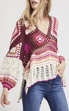Call Me Crochet Top - Multi by Free People A bohemian sweater in colorful lacy crochet is framed with billowy gathered sleeves and finished with a curvy hem to ensure your look turns all the heads. Cotton, Rayon, Nylon