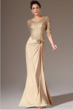 Wholesale 2014 Lace Mother Of The Bride Dresses Champagne Gold Half Sleeves Ruched Zipper Back Trumpet Evening Dresses Formal Gowns Custom Made HDY, Free shipping, $99.48/Piece | DHgate Mobile