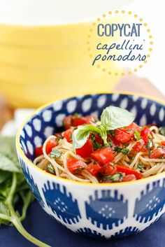 Copycat Olive Garden Capellini Pomodoro Recipe -- this copycat capellini pomodoro is one of my favorite quick and easy meatless recipes. Have it ready to serve in the time it takes to boil a pot of water and cook the pasta!