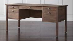 "65"" Ainsworth Walnut Desk. Center drawer converts to keyboard tray."