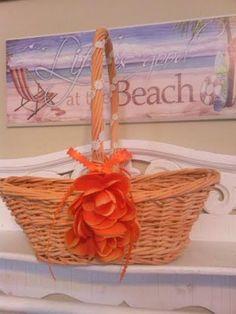 Flower Girl BasketOrange WeddingBeach by WildGrapeIDos on Etsy, $39.99