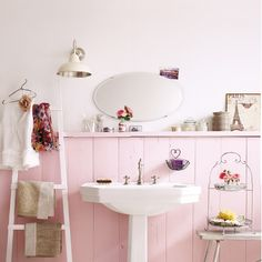 Soft pink bathroom.
