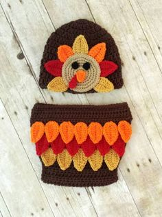 Turkey Hat Diaper Cover Crochet Pattern for 2014 Thanksgiving - Baby Outfit, Thanksgiving Gifts