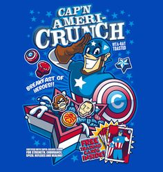 Cap'n Ameri-Crunch is obviously the breakfast of heroes. | These Cereals Based On Comic Book Characters Are Awesome