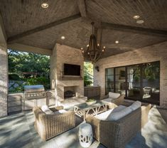 Exterior Home Renovation Ideas to Increase the Curb Appeal of Your Home - Ribbons & Stars Outdoor Fireplace Patio, Outdoor Kitchen Patio, Outdoor Kitchen Design, Outdoor Kitchens, Outdoor Patios, Outdoor Fireplaces, Diy Fireplace, Outdoor Spaces, Living Pool