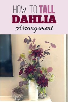 Make a DIY tall dahlia arrangement for your entryway or your living room. Add this beautiful fall arrangement to your seasonal decor. Decorating with flowers is fun! Our wreath of the month club has over 100 video tutorials, including this one. Click to learn more. Fall Arrangements, Artificial Flower Arrangements, Artificial Flowers, How To Make Wreaths, Fresh Flowers, Dahlia, Seasonal Decor, Decorating Your Home, Farmhouse Decor