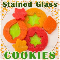 All you need are some Jolly Ranchers to create a stained glass look! How To Make Stained Glass Cookies for Fall - sugarkissed.net
