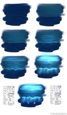 #手绘进阶教程 #色彩篇 #sai关于大海的上色技巧 #透明的看起很赞!!