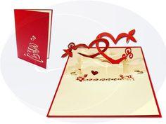 Unsere Hochzeitskarte mit Herzpaar. Mehr entdecken auf: www.lin-popupkarten.de