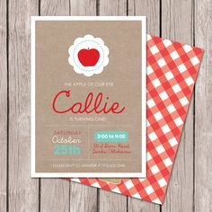 Apple Birthday Invitation Fall By Papernoteandco Diy