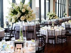 Tall ivory and green centerpieces with clear vases and baby breath floating inside...alternate these on every other table with smaller centerpieces to create depth