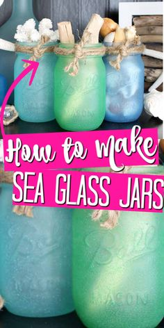Make these painted mason jars that look just like ocean sea glass! These are easy to make and will look great in your home! Painting Glass Jars, Painted Glass Bottles, Painted Wine Glasses, Painted Mason Jars, Bottle Painting, Bottles And Jars, Glass Paint, Decorated Bottles, Crafts With Glass Jars