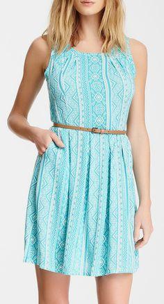 Belted Printed Sleeveless Dress =