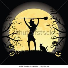 stock vector : Silhouette of a witch with a broom and a cat standing on a hill. Full moon, trees and pumpkins on the background.