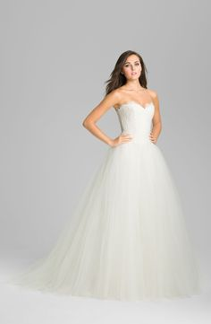 Theia Strapless Lace & Tulle Ballgown | Nordstrom I like how it isn't so puffy