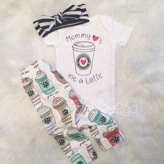 Mommy loves me a latte 3 piece set/ Coffee leggings/ by Doables2go