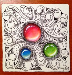 """The Diva's  Weekly Challenge #248: """"Give the Gift of Zentangle""""    When Ifirst started tangling I often called tiles little gems and now t..."""