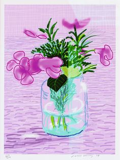 "David Hockney ""Untitled"" Lilac Ipad Drawing"