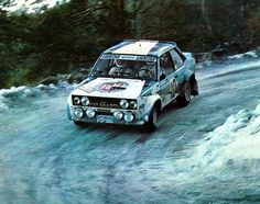 Walter Rohrl on his WRC Fiat Abarth 131 Rally