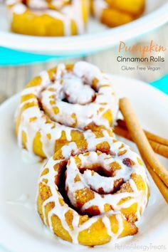 Gluten Free Pumpkin Cinnamon Rolls-PetiteAllergyTreats  Soft cinnamon buns with warm pumpkin spice flavor. #Vegan, #glutenfree, #eggfree