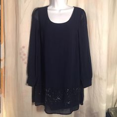 Blu Pepper NWOT Navy Blue Dress Sheer Sleeve sz S Brand new, never worn - let's be friends add me on Instagram @OrnamentalStone Facebook Group: Jaded And Traded Pinterest OrnamentalStone /Jaded And Traded Clothes For Sale xoxo Blu Pepper Dresses Mini