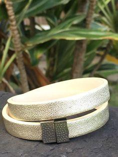NEW Rustic Cuff Metallic Gold  Double Wrap Haley Magnetic Bracelet W Silver