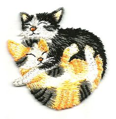 KITTENS/PLAYFUL EMBROIDERED IRON ON APPLIQUE