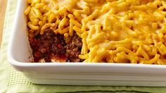 Betty Crocker® mac & cheese tops sloppy joe filling for an unbeatable family-favorite supper combo!