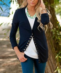 Look at this Navy Brass Snap-Up Cardigan - Women on #zulily today!