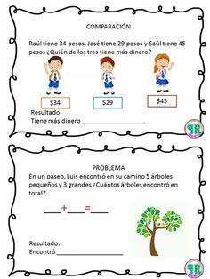 Problemas para I grado | Profe Yano Spanish Classroom Activities, Kindergarten Worksheets, Math 2, Math Class, Tools For Teaching, Maila, Sistema Solar, Home Schooling, Love My Job