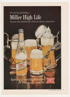 1967 Miller High Life Beer Advertisement Bottles by fromjanet, $7.00