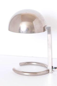 For Sale on 1stDibs - Machine Age Art Deco Jacques Adnet French midcentury table / desk lamp Iconic Adnet streamline modernist lamp design. Nickel-plated brass. Model # 407, Table Desk, Desk Lamp, Table Lamp, Machine Age, Lamp Design, Plating, Art Deco, Mid Century, Brass