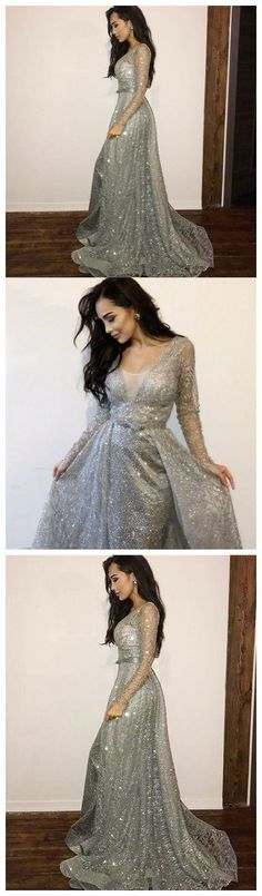 e37febcb37 Long Sleeve Sequins Prom Dress V Neck Silver Vintage Prom Dress  ER562.  OrtDress