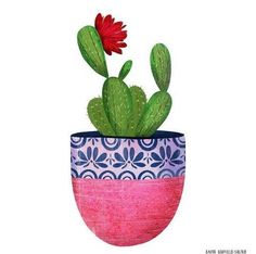 Pot No. 2 – I am SO loving the new techniques I learned from … – From Parts Unknown Cactus Painting, Cactus Art, Cactus Flower, Diy Painting, Flower Art, Cactus Plants, Kaktus Illustration, Watercolor Illustration, Watercolor Flowers