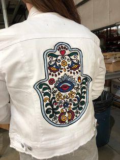 21bdb587b Chaninstitched Embroidered Hamsa Denim Jacket One of a Kind XL Womans cut