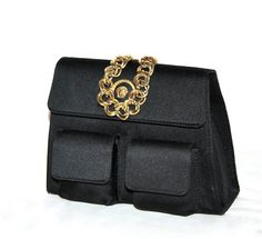 Vintage GIANNI VERSACE COUTURE Clutch Black Silk by StatedStyle, $325.00