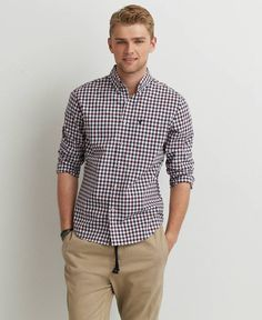 Got It! Easily Worn Shirt For Any Type Of Day! American Eagle Plaid Button Down Shirt, Men's, Maroon