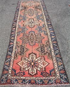 1920 S Unique Worn Washed Out Persian Heriz Geometric 3 X 10 Oriental Rug Runner