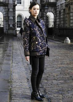 Best street style: London Fashion Week Fall 2014 //   A regal, rose-print jacket and investment shoes made an appearance at LFW Fall 2014.